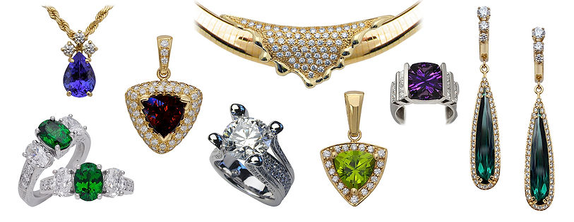 Diamonds, colored gems, pendant, necklace, rings, earrings, 18kt Gold, Fine jewelry,
