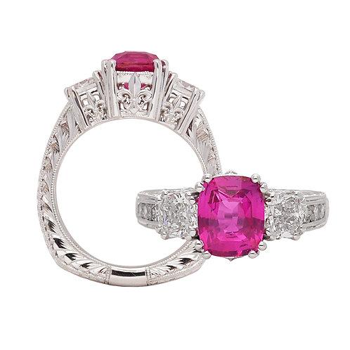 Pink Sapphire & Diamond Fleur De Lis Ring