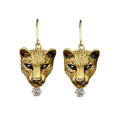 Leopard Bust Drop Earrings