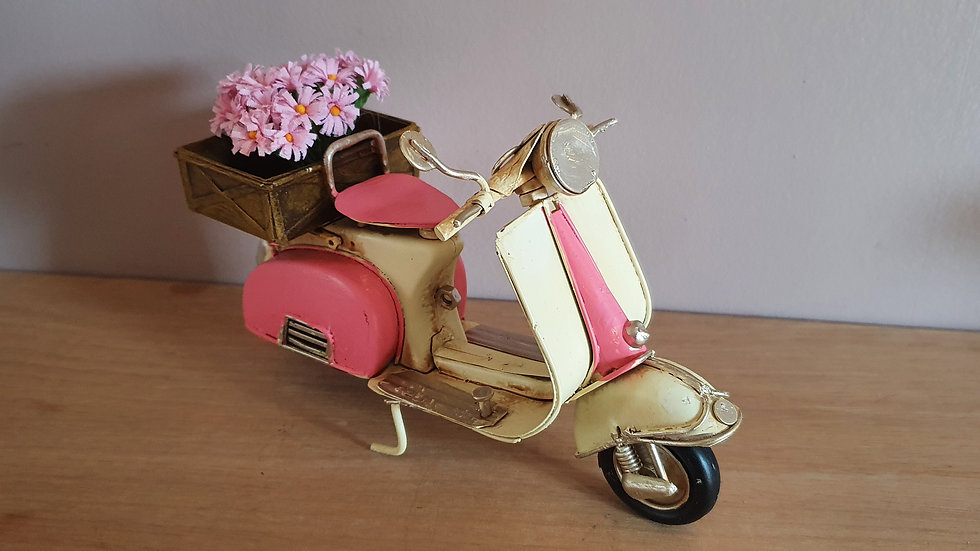Retro/ Vintage Tin Scooter with Flowers