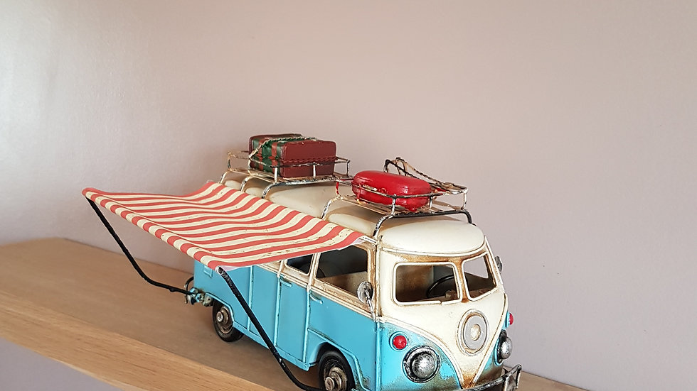 Large Tin Camper Van Ornament with Awning
