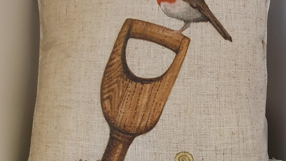 """Robin """"Head Gardener"""" Cushion"""