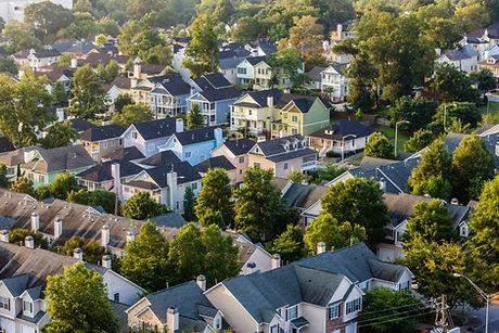 Flygfoto över hustak i förorter neighbor