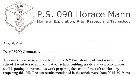 picture link of School letter about NY Post article