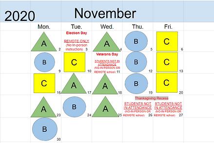 November In-perosn Calendar