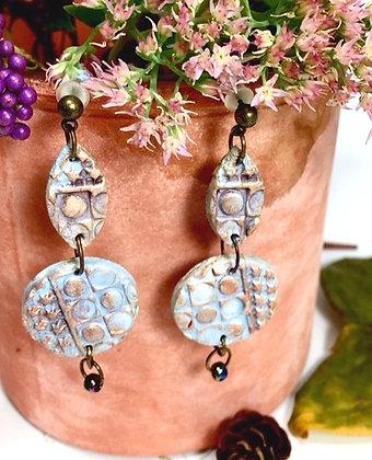 Blue Bubble Clay Dangle Earrings