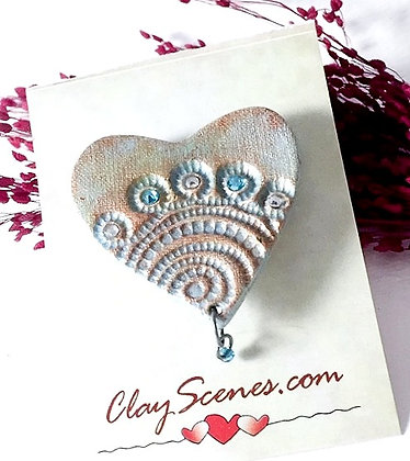 Sparkly Blue Heart Pin