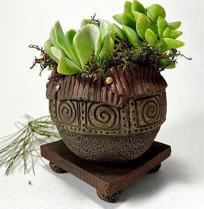 Black Stoneware Planter with Stand