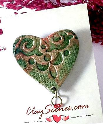 Green Swirled Heart Pin