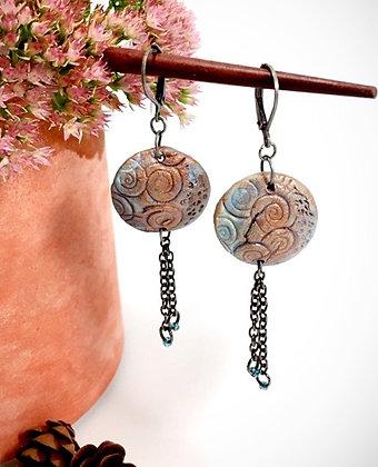 Blue Swirl Clay Dangle Earrings
