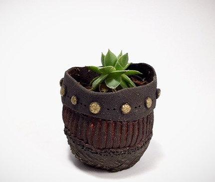 Mini Black Stoneware Planter
