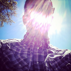 Selfie drenched in sunlight