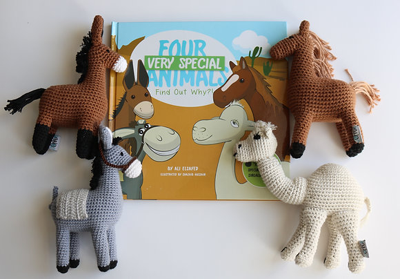 Handcrafted Crochet Animals with book set