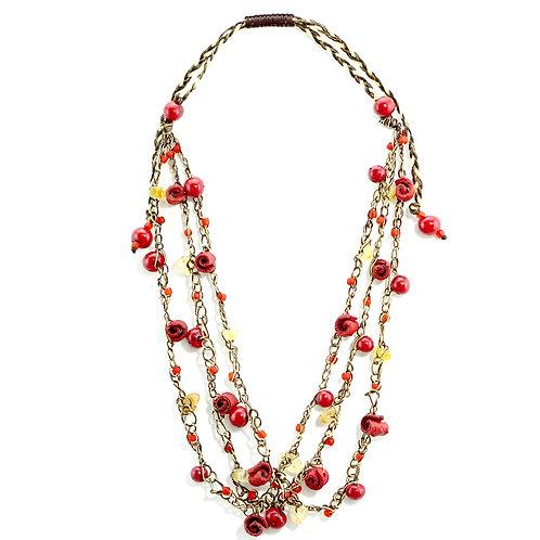 Red Adjustable Orange Peel Necklace