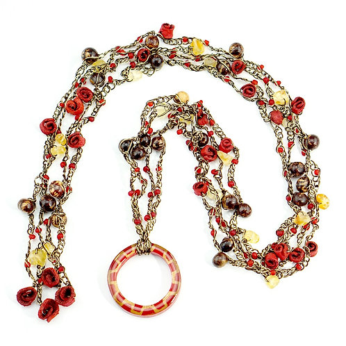 Red & Brown Multifunctional Orange Peel Necklace