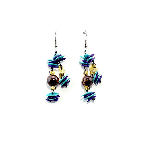 Purple & Turquoise Cantaloupe Seed Earrings