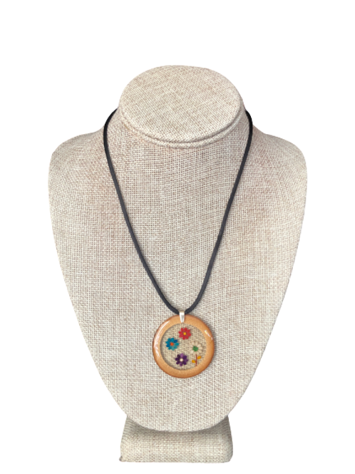 Bamboo Pendant - Multicolored Sesame Seeds