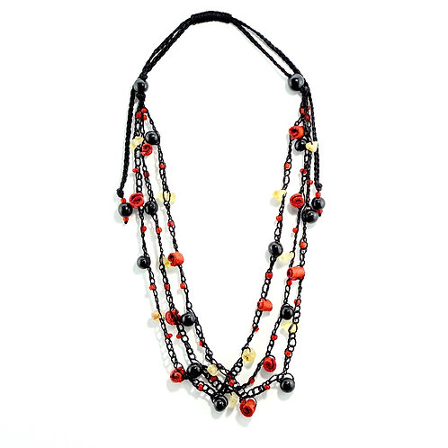 Red & Black Adjustable Orange Peel Necklace