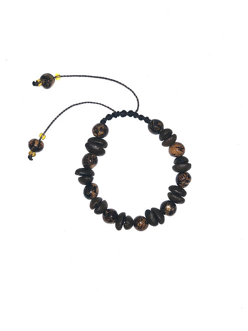 Coffee beans and brown açaí berries bracelet