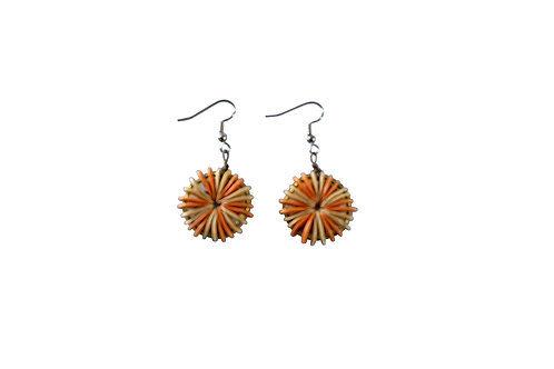 Natural and Orange Round Cantaloupe Seed Earrings