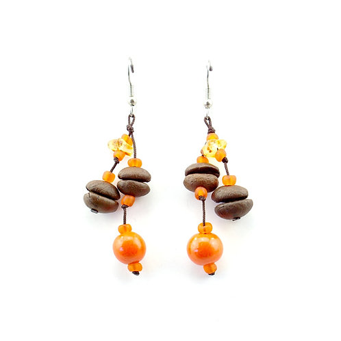 Orange Coffee Bean Earrings
