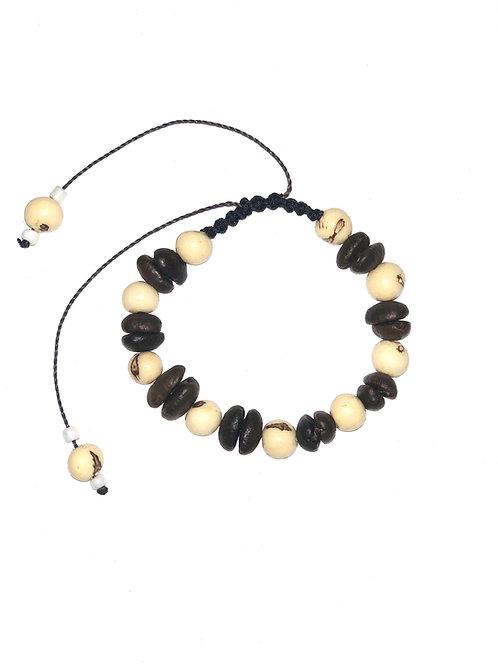 Coffee beans and white açaí berries bracelet