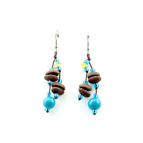 Blue Coffee Bean Earrings