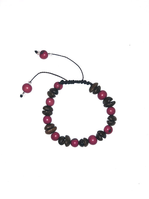 Coffee beans and pink açaí berries bracelet