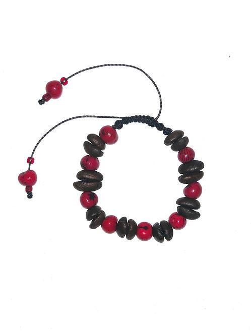 Coffee beans and red açaí berries bracelet