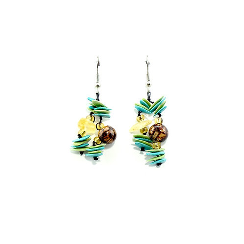 Green & Turquoise Cantaloupe Seed Earrings