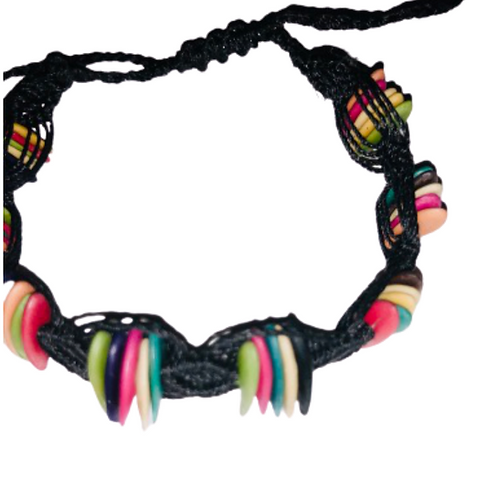 Multicolor cantaloupe seeds macrame bracelet - black thread