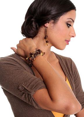 Coffee beans earrings and bracelet