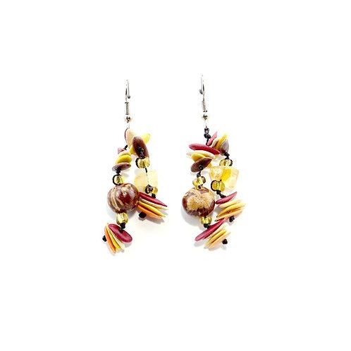 Warm Multicolor Cantaloupe Seed Earrings