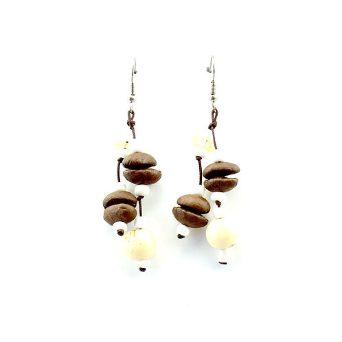 White Coffee Bean Earrings