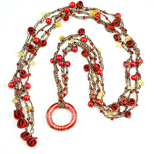 Red Multifunctional Orange Peel Necklace