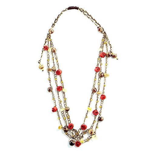 Red & Brown Adjustable Orange Peel Necklace