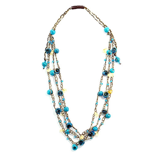 Blue Adjustable Orange Peel Necklace