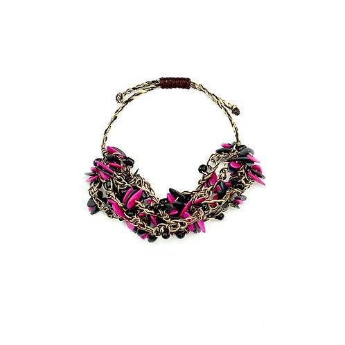 Pink & Black Cantaloupe Seed Bracelet