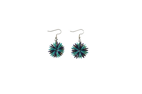 Purple and Turquoise Round Cantaloupe Seed Earrings