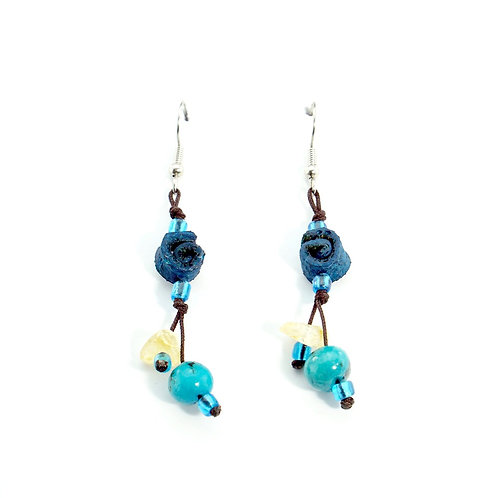 Blue Orange Peel Earrings