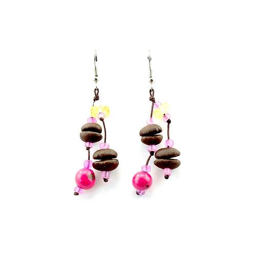 Pink Coffee Bean Earrings