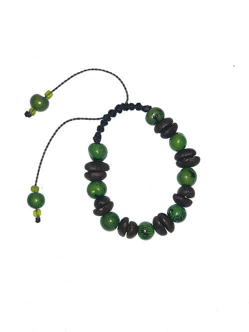 Coffee beans and green açaí berries bracelet