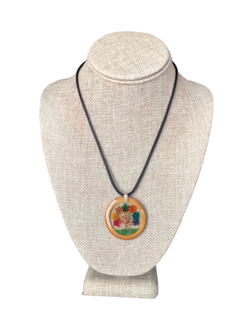 Bamboo Pendant - Multicolored Flowers