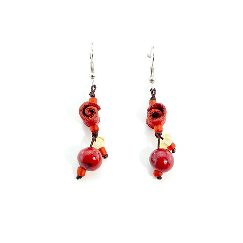 Red Orange Peel Earrings