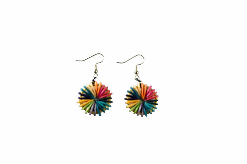 Multicolor Round Cantaloupe Seed Earrings