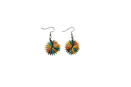 Aztec Round Cantaloupe Seed Earrings