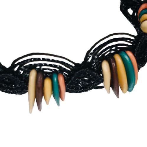 Aztec cantaloupe seeds macrame bracelet - black thread