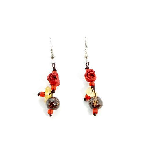 Red & Brown Orange Peel Earrings