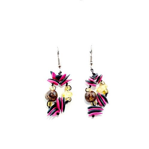 Pink & Black Cantaloupe Seed Earrings