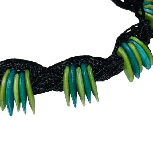 Green and Turquoise cantaloupe seeds macrame bracelet - black thread